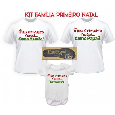 Camiseta Personalizada Primeiro Natal Família (monte o seu Kit)