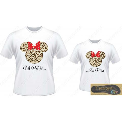 Camiseta Personalizada Tal Mãe Tal Filha Minnie Oncinha (monte o seu Kit)