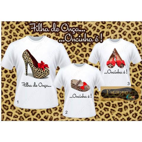 Camiseta Personalizada Tal Mãe Tal Filha Sapato Oncinha (monte o seu Kit)