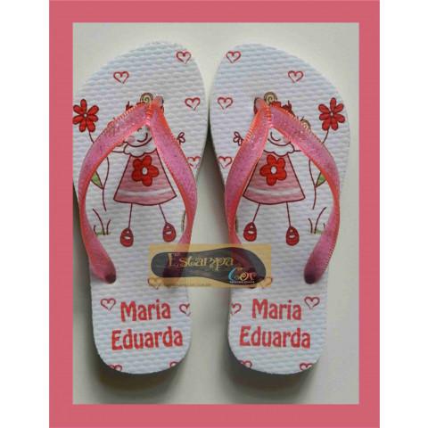 Chinelo Personalizado Boneca Rosa