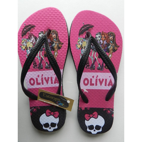 Chinelo Personalizado Monster High Pink