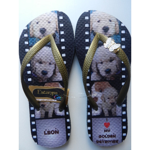 Chinelo Personalizado PET´s Golden Retriever III