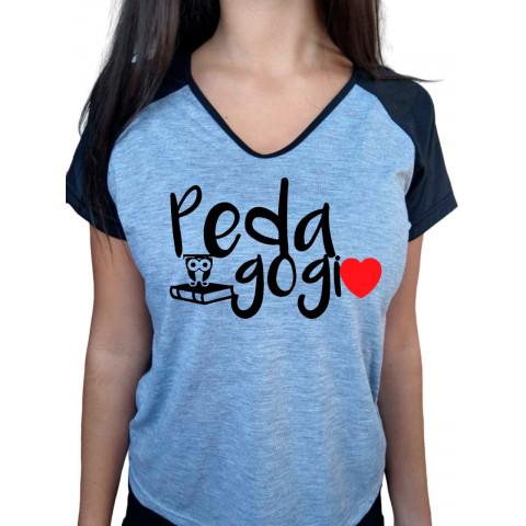 Camiseta Baby Look Cinza Mescla Raglan Pedagogia