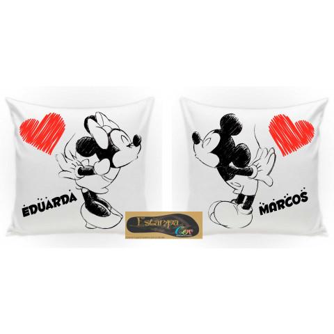 KIt Capa de Almofada Personalizada Mickey e Minnie - Escolha o Modelo