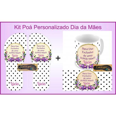 Kit Personalizado Caneca e Chinelo Dia das Mães Poá