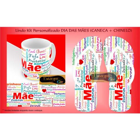 Kit Personalizado Caneca e Chinelo Dia das Mães