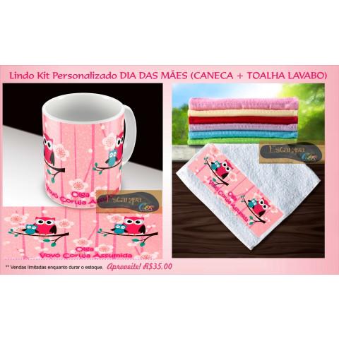 Kit Personalizado Caneca e Toalha Lavabo Coruja II