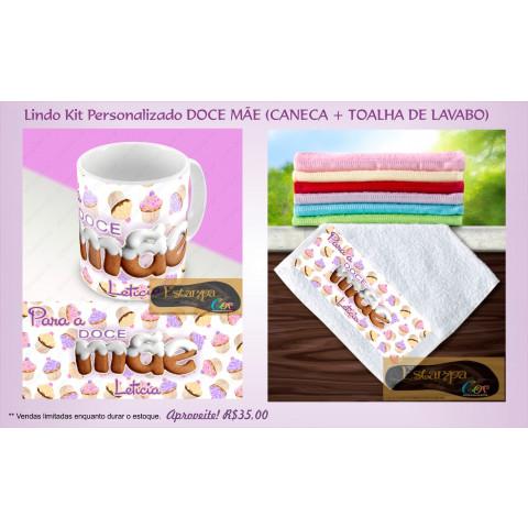 Kit Personalizado Caneca e Toalha Lavabo Doce Mãe