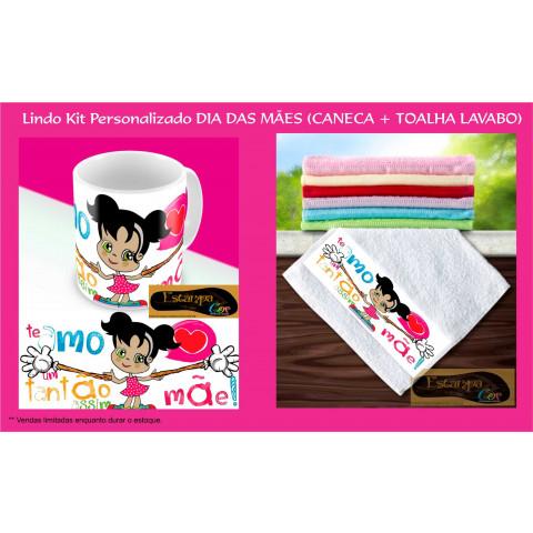 Kit Personalizado Caneca e Toalha Lavabo Mãe Te Amo um Tantão