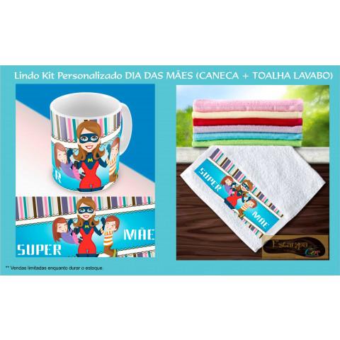 Kit Personalizado Caneca e Toalha Lavabo Super Mãe