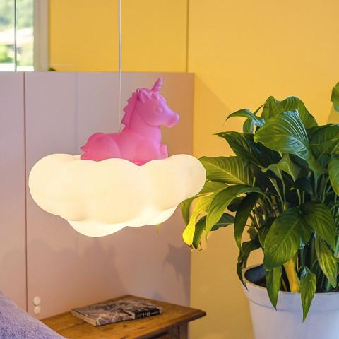 Luminária de teto unicórnio na nuvem