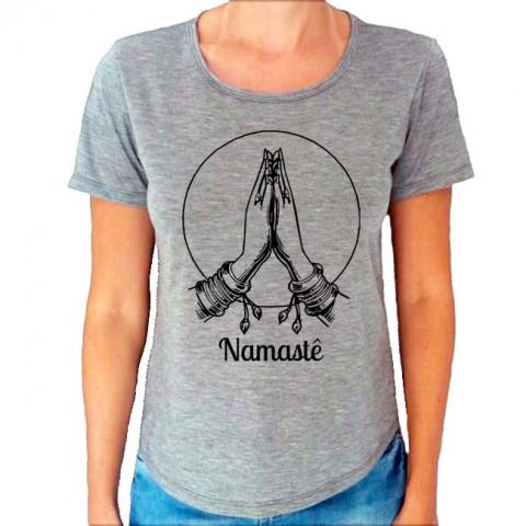 Camiseta T-Shirt Feminina Cinza Mescla Namastê