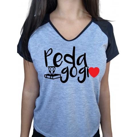 Camiseta Baby Look Cinza Mescla Raglan Educação Infantil