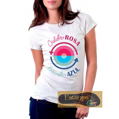 Camiseta Personalizada Outubro Rosa Novembro Azul