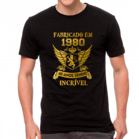 Camiseta Personalizada Preta Fabricado Incrível - Escolha o Ano e a Idade