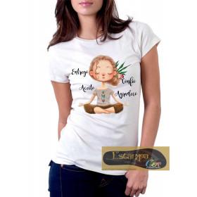 Camiseta Personalizada Entrego Confio Aceito Agradeço Meditação Zen