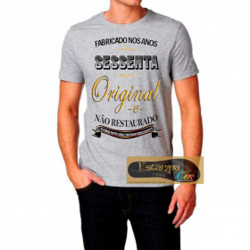 Camiseta Personalizada Cinza Mescla Fabricado nos Anos 40 50 60 70 80 90