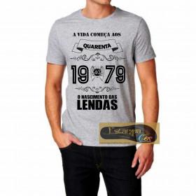 Camiseta Personalizada Cinza Mescla O Nascimento das Lendas - ESCOLHA O ANO