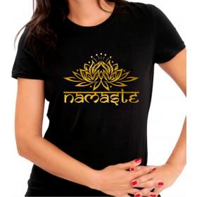 Camiseta Personalizada Preta Namastê Dourada