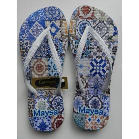 Chinelo Personalizado Porcelana Azul IV