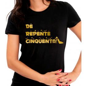 Camiseta Personalizada Preta De Repente Cinquenta Dourada