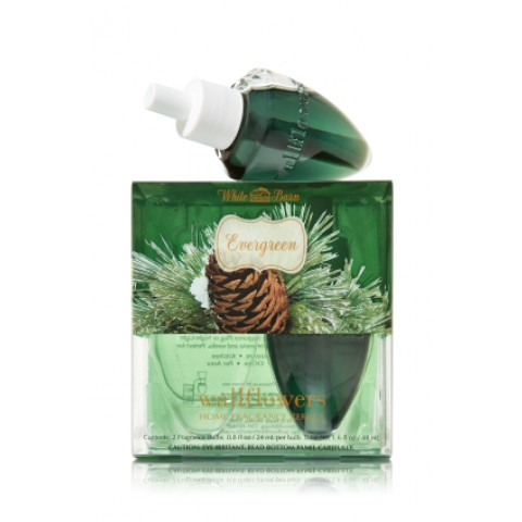 ESSÊNCIA Bath Body Works Wallflowers Refil Bulb caixa com 2 Evergreen