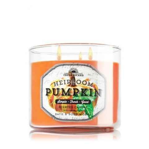Vela White Barn 3 Wick Candle Bath Body Works Heirloom Pumpkin