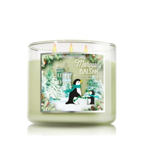 Vela White Barn 3 Wick Candle Bath Body Works Mahogany Balsam