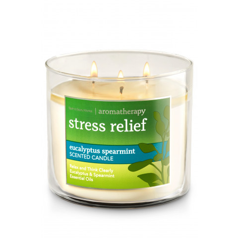 Vela White Barn 3-Wick 400g Candle Bath & Body Works Stress Relief - Eucalyptus Spearmint