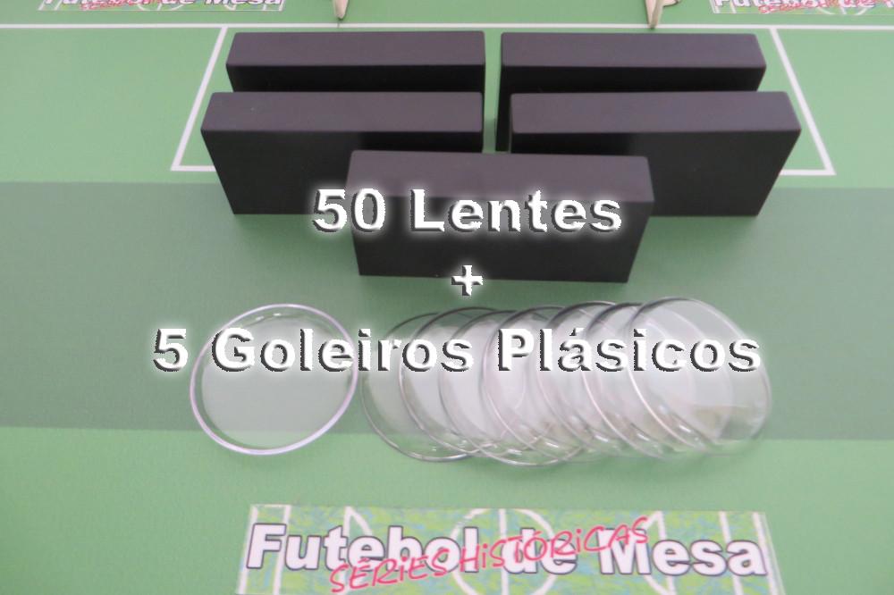 050 Lentes Transparentes (4,5 cm de diâmetro) + 5 goleiros plásticos
