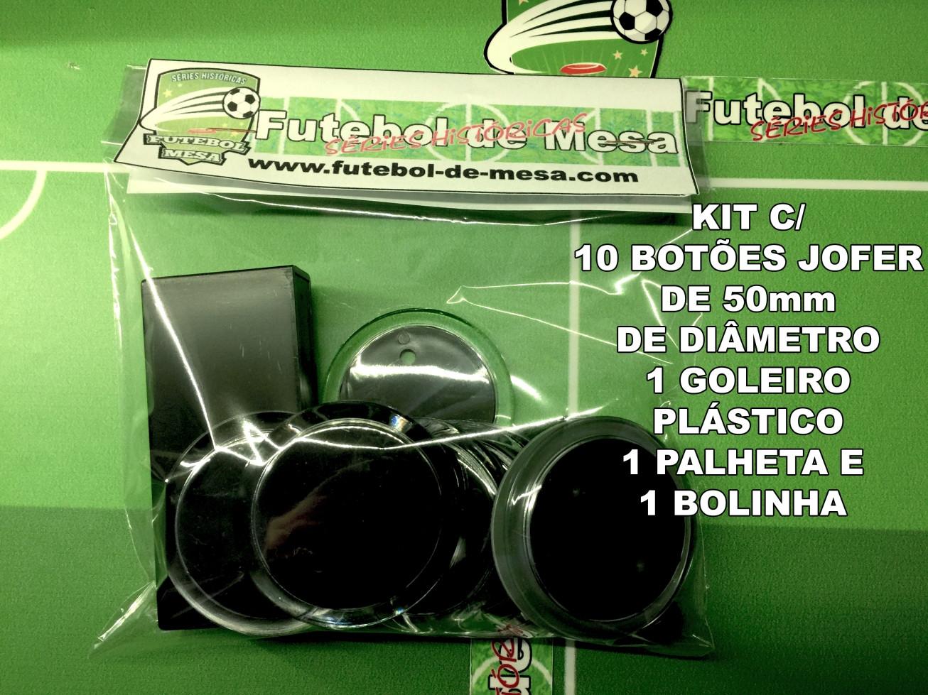 Kit c/ 10 botões jofer de 50mm + 1 goleiro + 1 palheta + 1 bolinha