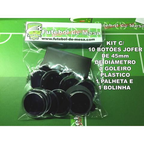 Kit c/ 10 botões jofer de 45mm + 1 goleiro + 1 palheta + 1 bolinha