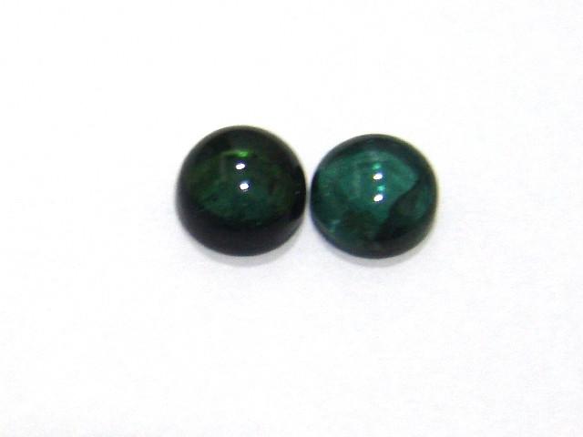 Turmalina Verde Redonda Cabochão  Par 7 mm