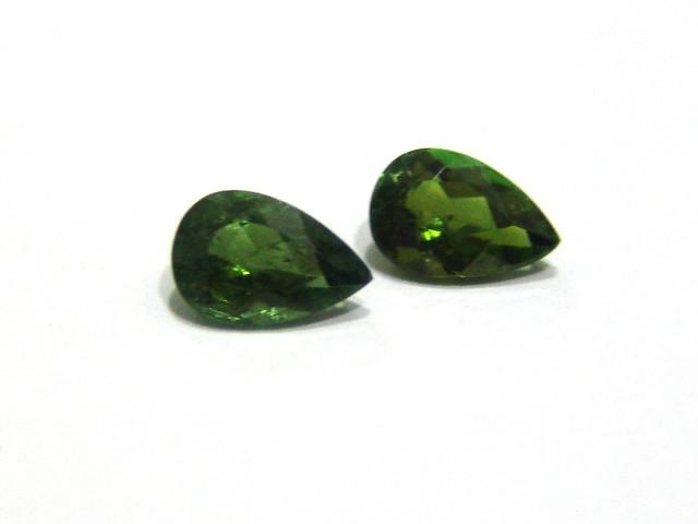 Turmalina Verde Gota Facetada  Par 8x6 mm