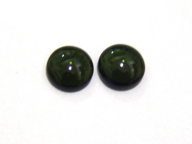 Turmalina Verde Redonda Cabochão  Par 8 mm