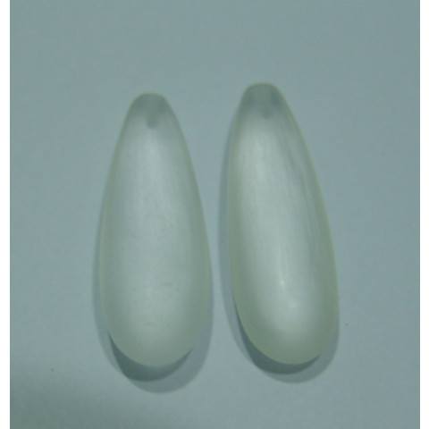 Cristal Leitoso Gota Cabochão Com Furo no Topo Par 30x10 mm