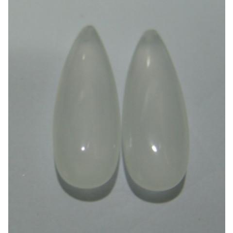 Cristal Leitoso Gota Cabochão Com Furo no Topo Par 34x12 mm