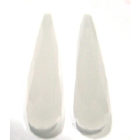 Cristal Leitoso Gota Facetada com Furo no Topo Par 35x8  mm