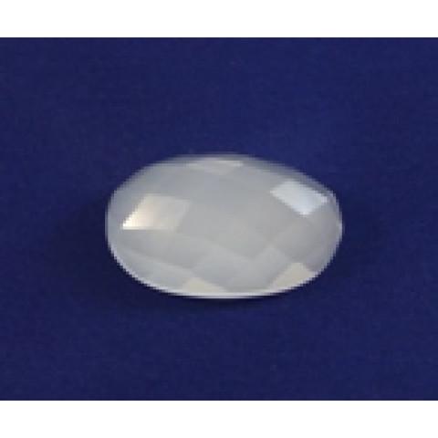 Cristal Leitoso Oval Facetada 30x20 mm