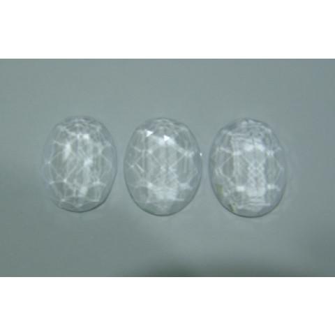 Cristal  oval facetado com fundo liso 20x15 mm