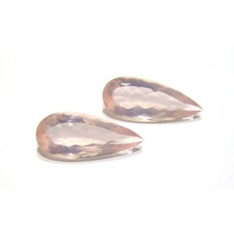 Quartzo Rosa Gota Facetada Par 30x13 mm