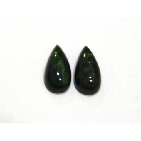 Turmalina Verde Gota Cabochão  Par 12x6 mm
