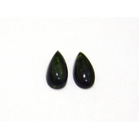 Turmalina Verde Gota Cabochão  Par 5x10 mm