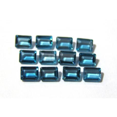 Topázio London Blue - Retangular Facetado 8x6 mm
