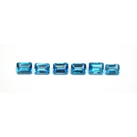Topázio Azul Swiss Blue Retangular Facetado 7x5 mm