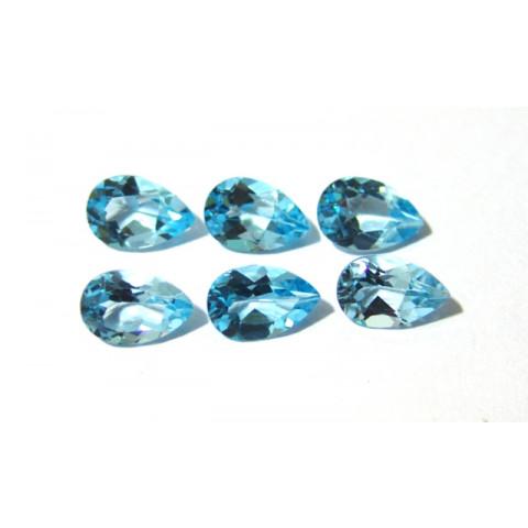 Topázio Azul Swiss Blue Gota Facetado 12x8 mm