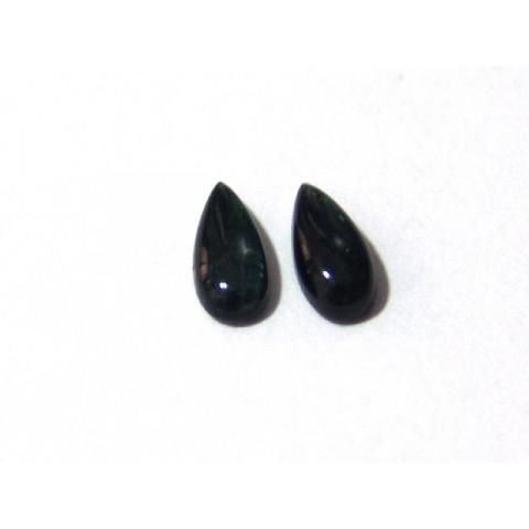Turmalina Verde - Gota Facetada Par 9x4 mm
