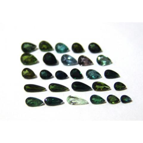 Lote de Turmalina Verde - Gota Facetado Tamanhos Variados