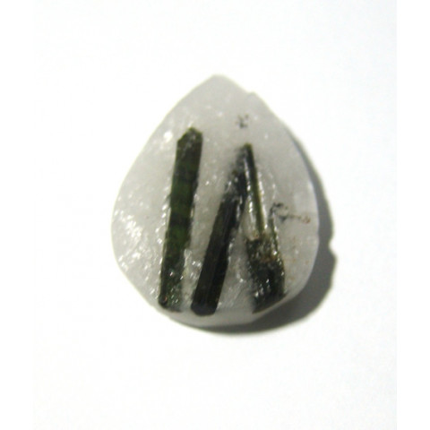 Peça de Turmalina Verde Natural no Cristal Gota 33x25 mm
