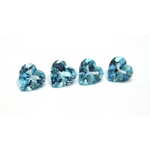 Topazio Azul Sky Blue coração Facetado 10 mm